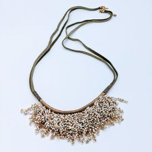 Chico's Convertible Seed Bead Gold White Necklace